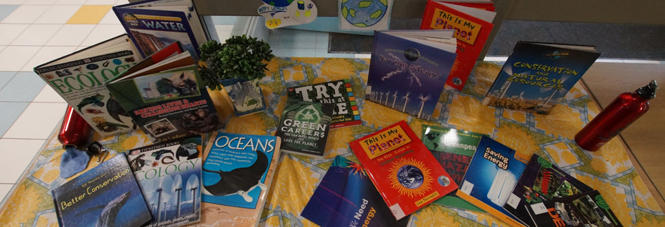 Book about the environment, water, ecology, nature on a table